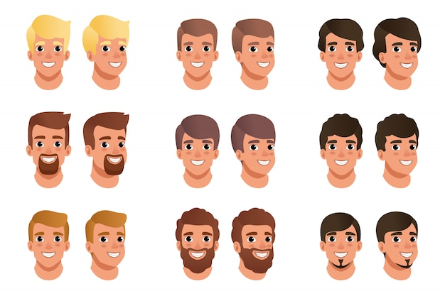 Cartoon set of men avatars with different hair styles, colors and beards black, blonde, brown. human head. male with smiling face expression.