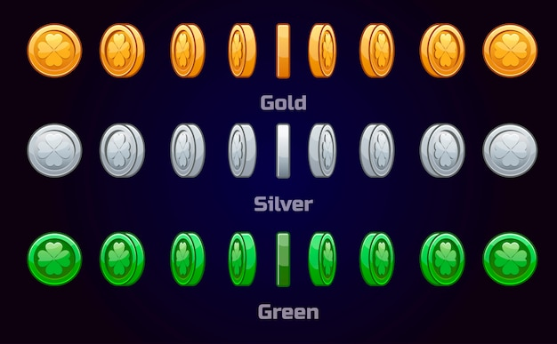 Cartoon set of metal and green coins st. patrick s