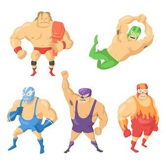 Cartoon set di combattenti wrestler messicani in maschere. illustrazione