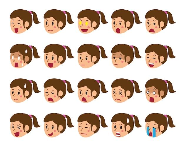 다른 감정을 보여주는 여자 얼굴의 만화 세트