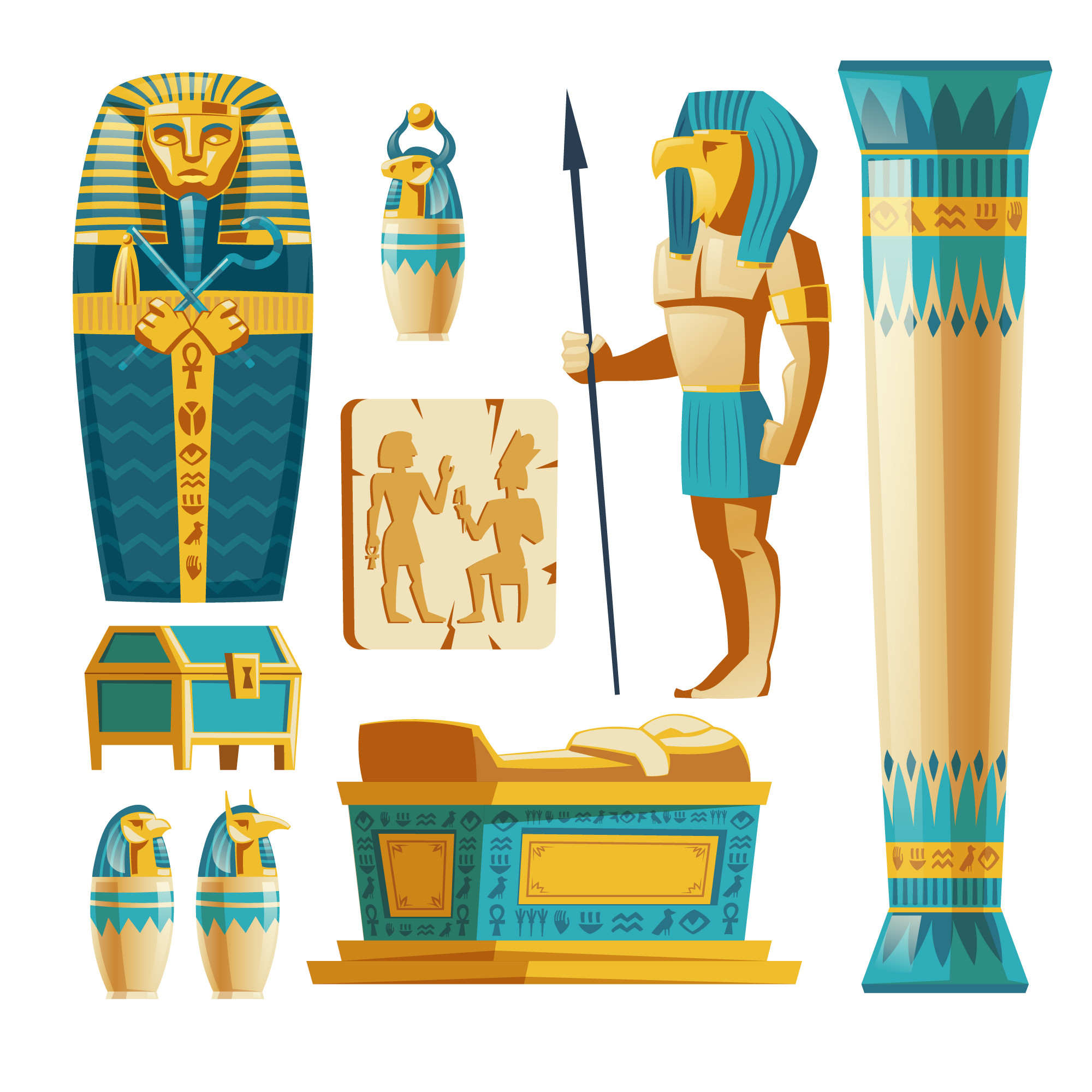Cartoon set of ancient Egypt objects isolated on background.