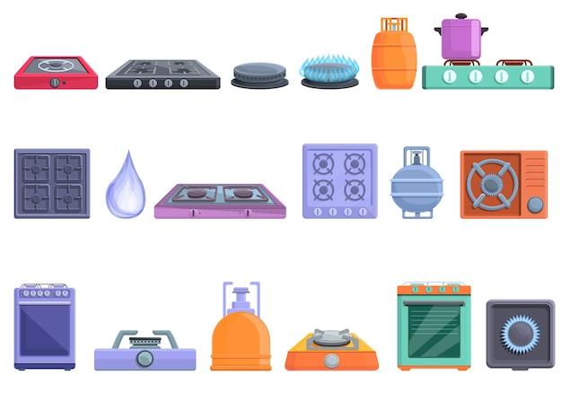 ウェブデザインのための燃えるガスストーブアイコンの漫画セット