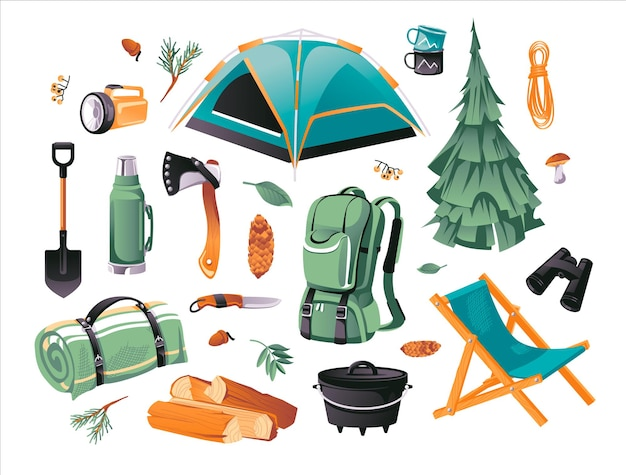 キャンプやハイキングオブジェクトの漫画セット。観光機器。ハイキングアウトドアエレメントキット。