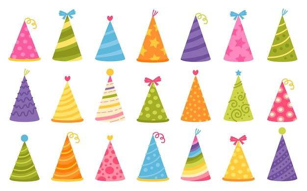 お祝いのデザインのためのカラフルな誕生日の帽子の漫画セット