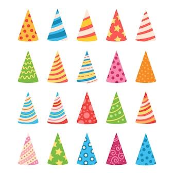 축하 디자인을위한 다채로운 생일 모자 세트 만화