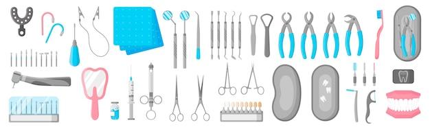 흰색 배경에 치과 치료를위한 치과 치료, 수술 및 관리 도구의 만화 세트