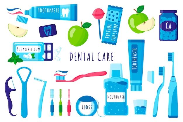 Мультфильм набор стоматологических инструментов для ухода за полостью рта и зубов: зубная щетка, зубная паста, нить и т. д. на белом фоне.