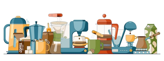 플랫 스타일의 다양한 커피 양조 방법의 만화 세트