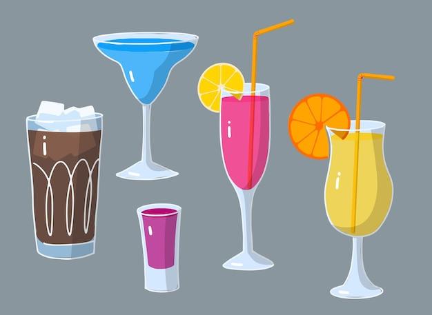 飲み物の漫画セット、フルーツとカクテルのグラス
