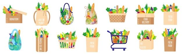 Мультяшный набор из экологически чистых бумажных продуктовых сумок, корзин, тележек, коробок, веревок и черепашьих мешков со здоровыми органическими продуктами питания, изолированных на белом фоне. концепция заботы об окружающей среде. покупки эко-продуктов питания.