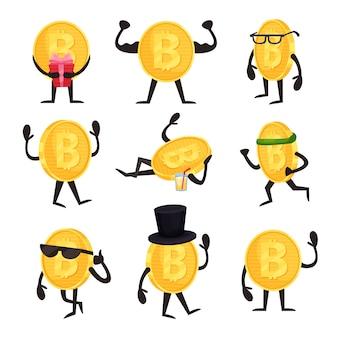 Мультяшный набор золотых монет символов с биткойн знаком в различных действиях. криптовалюта или концепция виртуальных денег. плоский дизайн для мобильного приложения или веб-сайта