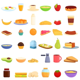 健康的な朝食アイコンの漫画セット