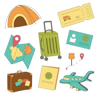 Мультфильм набор иконок туризма, авиаперелетов, планирования летних каникул, приключений, путешествия в отпуск. векторная иллюстрация