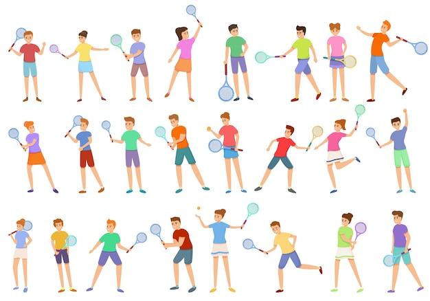 웹 디자인을위한 테니스 아이콘을 재생하는 아이의 만화 세트