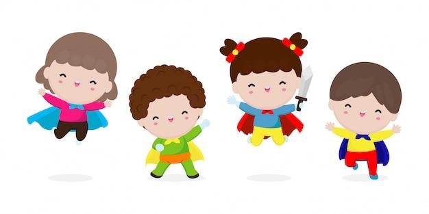 漫画の衣装を着ている子供スーパーヒーローの漫画セット、かわいい子供たちのスーパーヒーローコスプレコレクション、白い背景の図に分離されたスーパーヒーローキャラクターのグループの子。