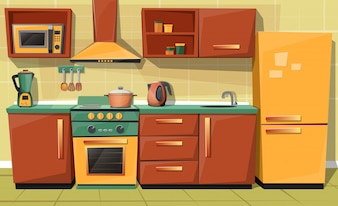 Cartoon set of kitchen counter with appliances - fridge, microwave oven, kettle, blender