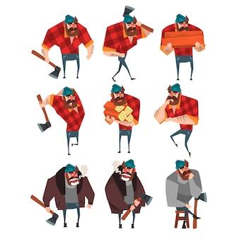 さまざまなアクションで木こりの漫画セット。斧の木こり。流行に敏感な格子縞のシャツ、ジーンズ、セーター、ジャケット、帽子の強いひげを生やした男。フラットデザイン