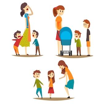 さまざまな状況での母親の漫画セット疲れた主婦と大声で叫ぶ息子、乳母車と彼女の隣に2人の男の子を持つ若いお母さん、小さな女の子を叱る女性
