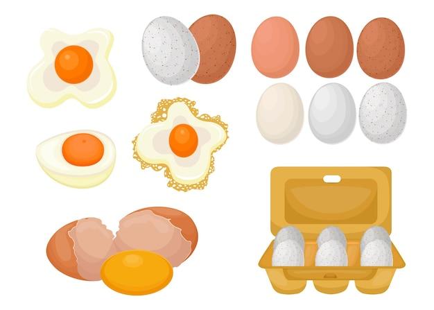 원시, 삶은 계란과 튀긴 계란의 만화 세트. 평면 그림 프리미엄 벡터