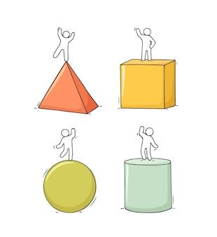 Мультфильм набор эскиза маленьких людей с фигурами. оттянутая рука