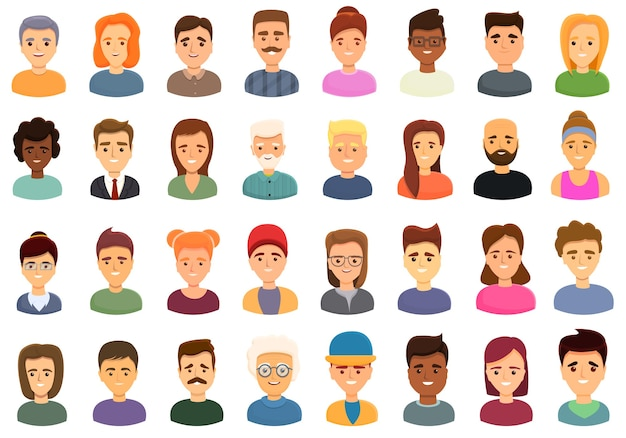 ウェブデザインの笑顔の人々のアイコンの漫画セット