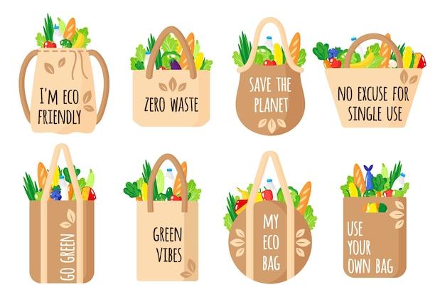 Мультяшный набор текстильных многоразовых продуктовых пакетов с эко-цитатами со здоровыми органическими продуктами, изолированными на белом фоне. концепция заботы об окружающей среде. покупки эко-продуктов питания.
