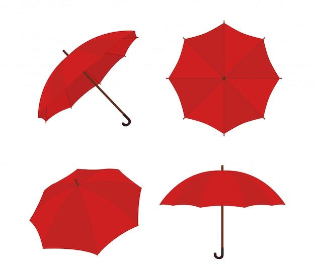 傘の漫画セット。赤いパラソル、ギャンプ