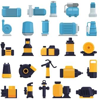 Cartoon set of pump icons on white