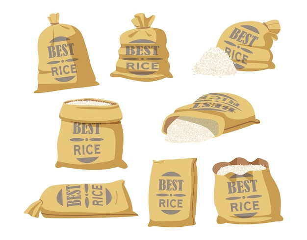 Cartoon set of sacks with best rice typography. textile bags with farm production in brown bales, closed and open sacks with white grains inside isolated on white background. vector illustration