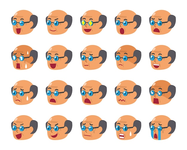 Cartoon set of senior man faces showing different emotions