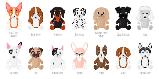 Cartoon set of sitting dogs of different breeds.