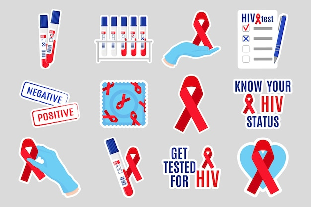Cartoon set of stickers illustrations aids and hiv awareness. red ribbon, test, test tube, inscription, condom, signet, doctor's hands, gloves, blank.  world aids day.