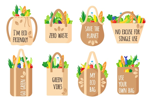 Cartoon set of textile reusable grocery bags with eco quotes with healthy organic food isolated on white background. caring for the environment concept. eco-food shopping.