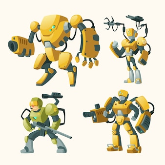 Cartoon set with androids, human soldiers in robotic combat exoskeletons with guns