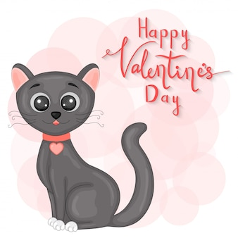 Cartoon set with animals and lettering for valentine s day. stickers in the cat.