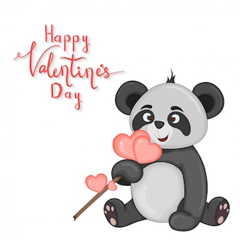 Cartoon set with animals and lettering for valentine s day. stickers in the panda.