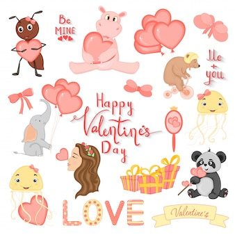 Cartoon set with animals and lettering for valentine s day