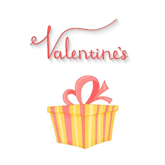 Cartoon set with animals and lettering for valentine's day Premium Vector