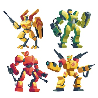 Cartoon set with armed transformers, human soldiers in robotic combat exoskeletons