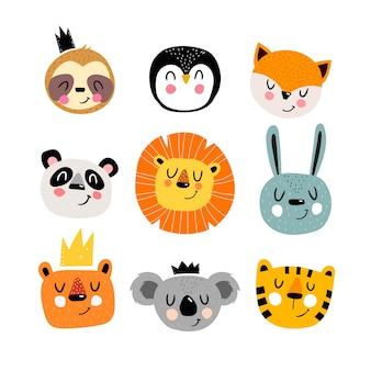 Cartoon set with cute animals hand drawing illustration