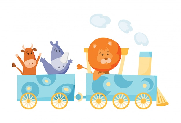 Cartoon set with different animals on trains. fox giraffe monkey elephant bear pigs bunny tiger behemoth parrot. flat elements for postcard, book or print