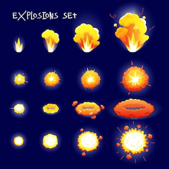 Cartoon set with explosion effects of different size and shape for flash animation isolated on dark