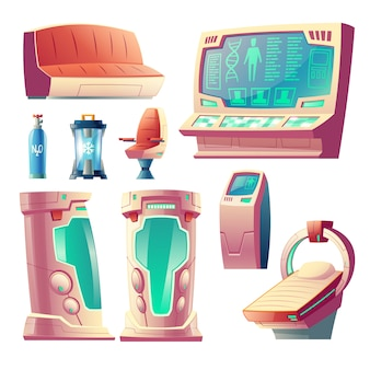 Cartoon set with futuristic equipment for hibernation, empty cryogenic cameras for sleeping