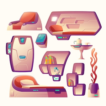 Cartoon set with futuristic objects for spaceship