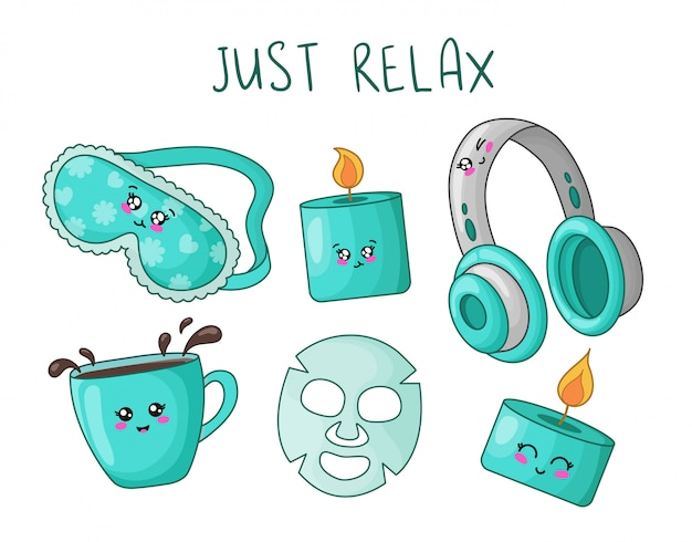 Cartoon set with kawaii cute things for rest and relaxation - sleep mask, aroma candle, headphones