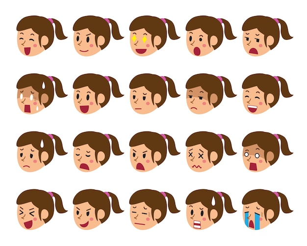 Cartoon set of a woman faces showing different emotions