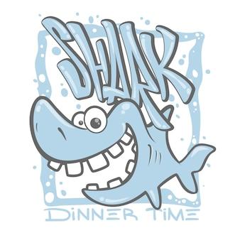漫画のサメのイラスト。