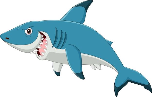 Мультяшная акула изолирована Premium векторы