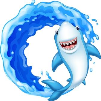 Cartoon shark in the ocean