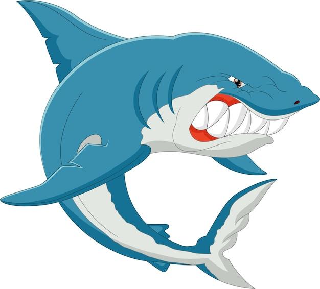 Мультяшная акула позирует сердитым изолированным на белом